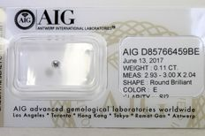 Brilliant cut diamond of 0.11 ct E/SI2 - No Reserve Price