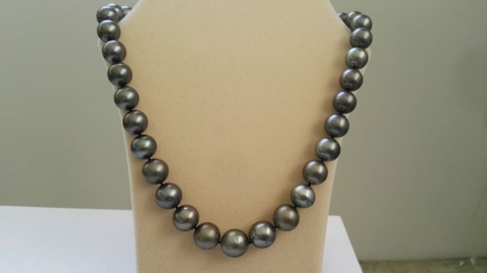 Necklace with Tahitian pearls of 10.50 - 14.70 mm in dark colour