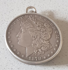 16 Leuba Geneve - open-face silver coin watch with enamel - around 1930