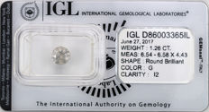 1.26 ct brilliant cut diamond  G  I2