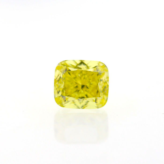 1.00 Ct. Natural Fancy Intense Yellow VVS2 Cushion shape Diamond, GIA certified