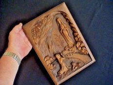 Beautiful signed wood carved bas relief - Blessed Virgin Massabielle, Lourdes 1900/1930