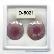 Two pink sapphires – 24.73 ct (11.33 + 13.40) – No reserve price