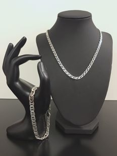 Silver set link necklace and link bracelet 925 - 46 cm + 21 cm