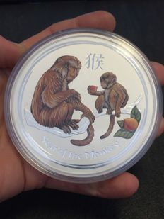 Australia - 10 Dollars - Lunar Year of the Monkey 2016 - 10 oz - 999 silver coin - colour edition