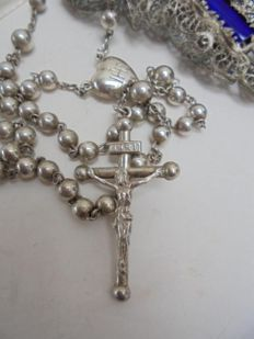 Antique silver rosary, heart, IHS 50 cm