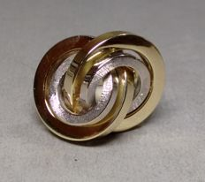 Two-tone 'knot' ring made of 14 kt gold, size 54