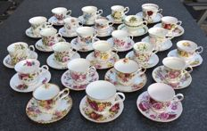 50-piece English porcelain cups and saucers including Elizabethan, Queens and Duchess
