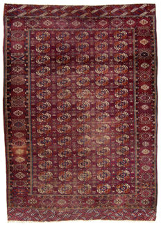 (Size: 322 x 232 cm) Antique original authentic rug of Russian Bukhara - Hand-knotted - With Certificate of Authenticity from an official appraiser, (Galleria Farah1970)  95079