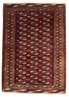 Original authentic antique Russian Bukhara rug. Hand-knotted with Certificate of Authenticity from an official appraiser– (Galleriafarah1970)  95079