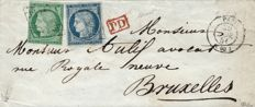 France 1851 – Cérès 15 centimes et 25 centimes, grid cancellation on letter to Belgium, signed by Calves, Brun and Baudot – Yvert No. 2 and 4