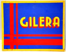 Gilera - hand-painted sign on wooden board - 2000s - Italy
