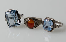 3 antique rings with natural gemstones