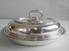 Silver plated serving dish with cover by Elkington & Co., Birmingham