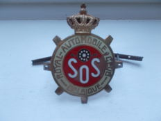 vintage BELGIQUE    S. O .S   ROYAL AUTOMOBILE CLUB brass and enamel with fixings early car badge original rare