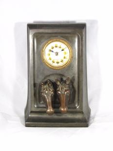 Art Nouveau clock with horse statues - Junghans -  around 190