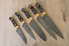 Custom made damascus steel Chef kitchen 5 pcs. knives set.