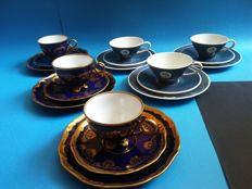 Three, hand painted breakfast sets Lichte Echt Cobalt + 3 breakfast sets Rosenthal