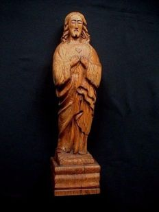 Oak Sacred Heart statue of Christ - Art Deco period ca. 1930