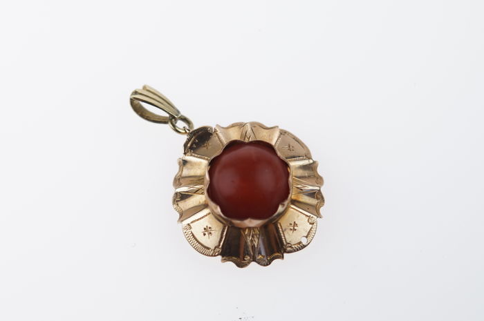14 karat gold pendant with a fine red coral - antique