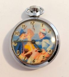 """Pocket watch with """"Navy threesome scène with captain, sailor and young woman"""" - ca 1950/1960"""