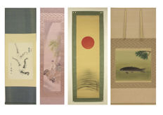 Four hanging scrolls - Japan/China - second half 20th century