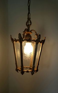 Gold-plated lantern lamp - ceiling lamp - 2nd half 20th century
