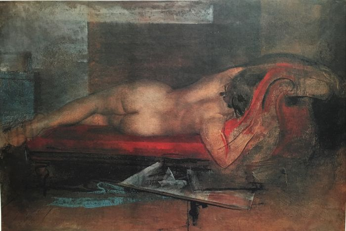Pietro Annigoni (1910-1988) - Lithograph on cardboard - Nudo disteso