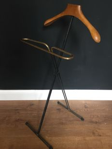 Unknown designer - folding brass and wood valet stand