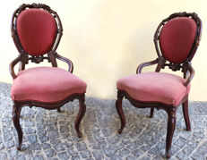 A pair of French chairs in Louis Philippe style - mid 19th century