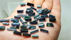 Lot of Paprock Indicolite blue tourmaline crystals - 90 ct.