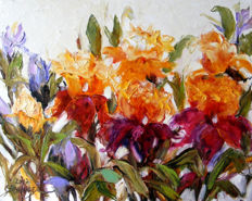 "Elena Bissinger (21th century) - Flowers "" Joy in the garden"""