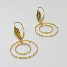 Like new - Vintage embossed double 18kt gold hoop chandelier earrings - No reserve