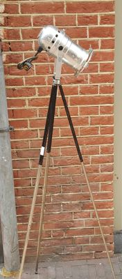 Vintage tripod black and silver with aluminium lamp mid 20th century