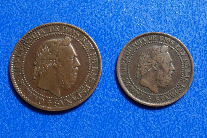 "Spain – Lot of two coins of 5 cents and 10 cents of peseta 1875 Carlos VII ""The Pretender"" Mint Belgium"