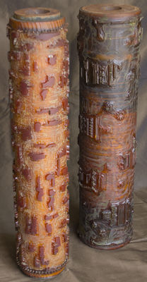 Two printing rolls in wood and other materials, first half of the 20th century, Belgium.