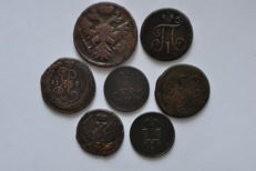 Russia - 7 different types of Denga coins 1737-1861