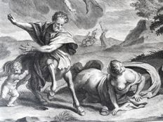 2 prints, one by Philip van Gunst (1685-1732) - Fables;  Deucalion & Pyrrha - Ocyrrhoe chaning into an Mare..- 1732