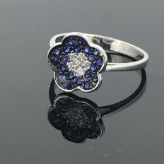 18 kt gold ring with Sapphires and Zirconia - 750/1000 gold