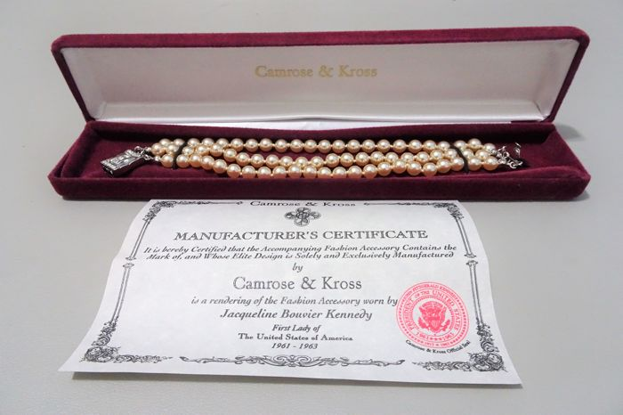Camrose & Kross-Jackie Kennedy - Triple Strand Ivory Faux Pearl Bracelet with Box & Certificate of Authenticity