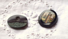 An agate in intaglio and one in micromosaic.