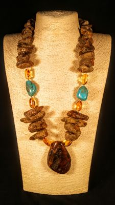 Genuine Baltic Amber necklace with Turquoise Beads accent , length 69 cm, 167 grams