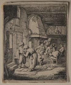 The Peasant paying his Debt -   Original etching by Adriaen van Ostade - Ntherlands 1664-67  - Date of impression unknown