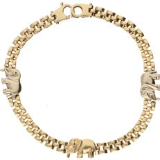 14 kt - Yellow gold bracelet with yellow gold and white gold elephant-shaped links - Length: 19 cm
