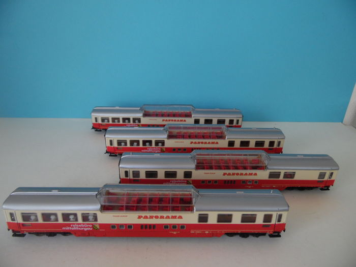 Roco H0 - 64137 - four panorama carriages Trans-Europ of the DB