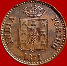Portugal – 10 copper Reis  Luis I Portuguese India 1871 Mumbai