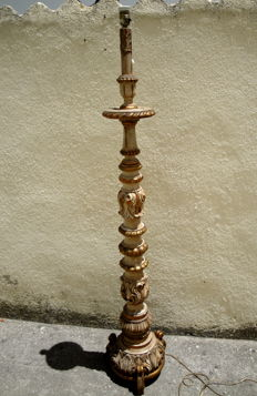 A Carved Wood Tall (H) 158 cm Torchiere, ca. 1900's