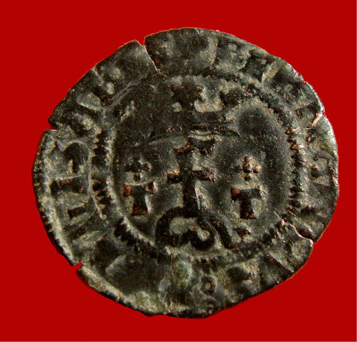 Spain – Catholic Kings (1474–1504), scarce white copper coin. Toledo. T / T low crosses.