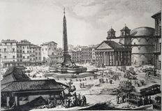 6 prints by Johan Christian Jacob Friedrich (1746-1813) after designs by Piranesi - Various large views of Rome - 18th century