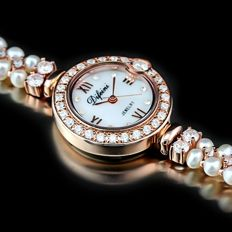 Difeini 18K Rose Gold Plated Ladies Fancy Watch with Jewelry Stone and Pearl- 2015